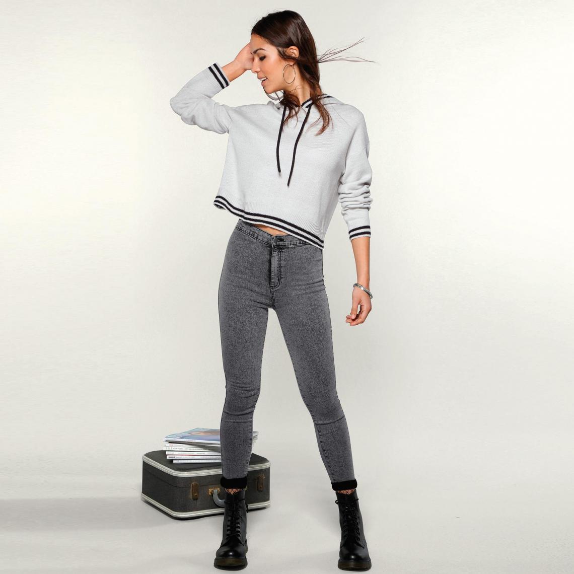 Jean taille haute coupe skinny femme - Denim Noir | 3 SUISSES