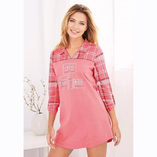 63da038a18f41 3 SUISSES - Chemise de nuit manches longues à carreaux femme - Rose -  Nuisettes