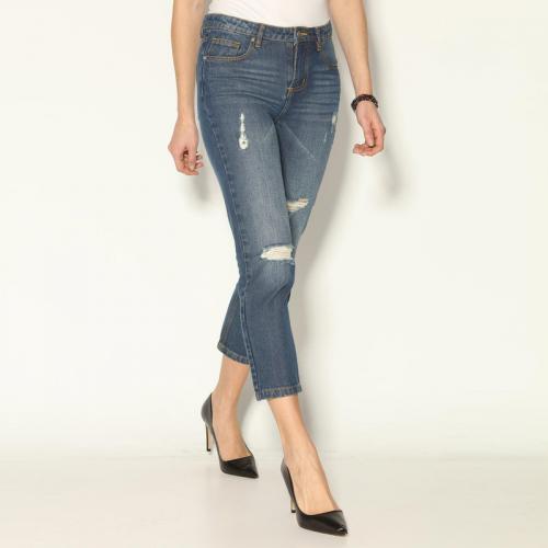 3 SUISSES - Jean large 5 poches déchiré devant femme Exclusivité 3SUISSES -  Denim Bleu - 65e334ebf9b