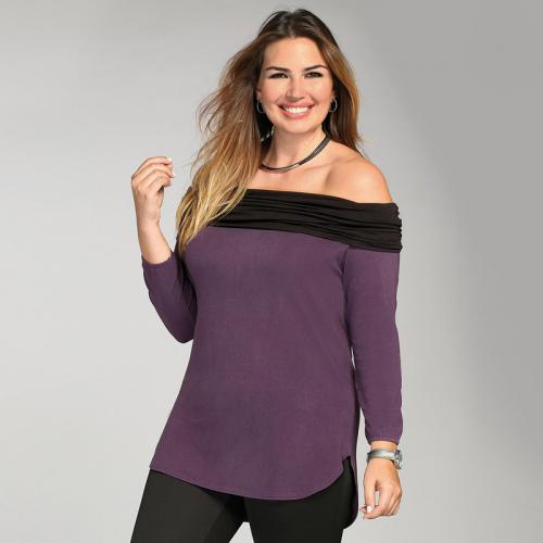 3 SUISSES - Tee-shirt manches longues col à revers femme - Violet - Mode Grande Taille