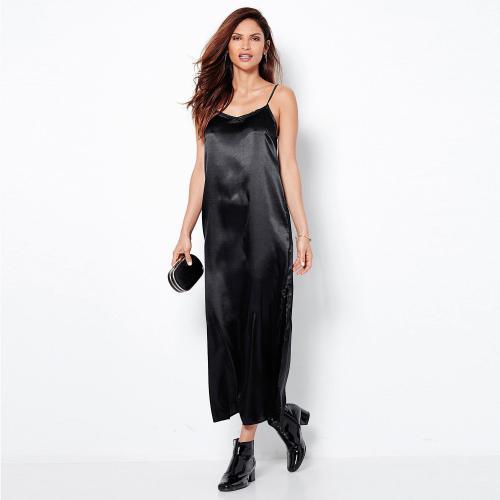 c098bf93029 3 SUISSES - Robe longue unie bretelles ajustables fendue femme - Noir - Robe  longue