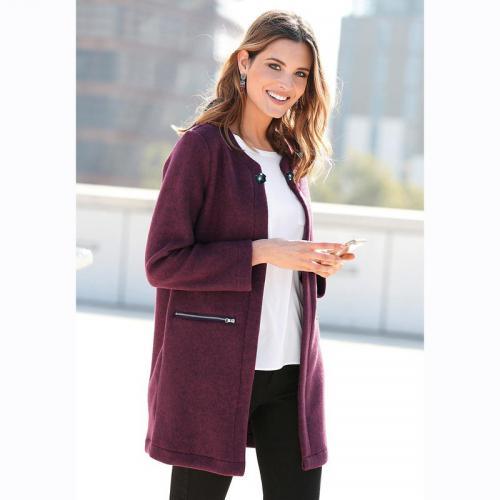 3 SUISSES - Manteau en molleton manches longues femme Exclusivité 3SUISSES  - Rouge - Manteaux femme fbe8fb62457