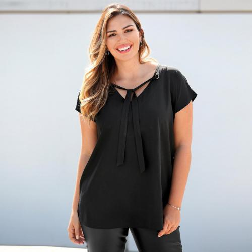 3 SUISSES - Blouse manches courtes oeillets et rubans femme Exclusivité  3SUISSES - Noir - Mode 89020b68ce3
