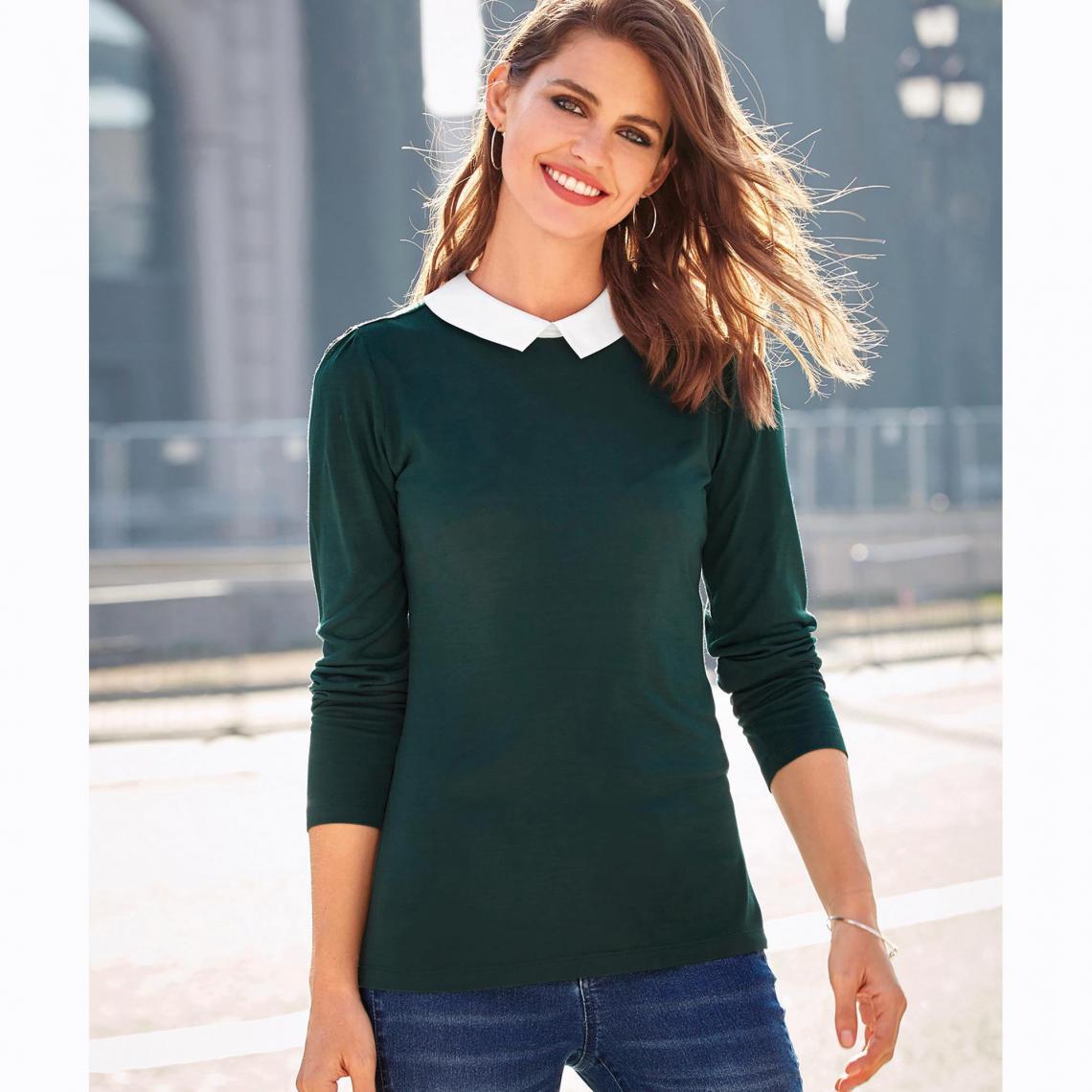 7ad61d65d9ede Tee-shirt manches longues col chemise femme - Vert Bouteille | 3 SUISSES