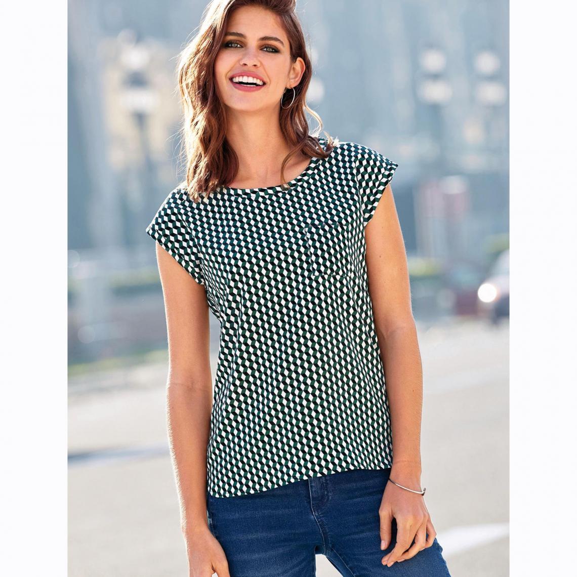 c36d0d1c7 Top manches courtes poche poitrine femme - Imprimé Vert   3 SUISSES