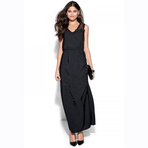 8c4128d4e0d 3 SUISSES - Robe longue sans manche dentelle plumetis femme - Noir - Robe  longue