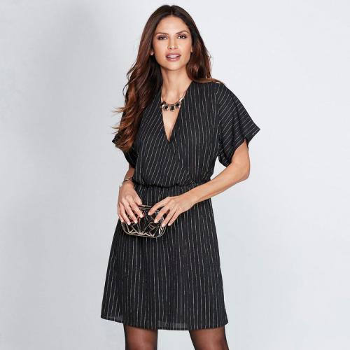 4f76cb5bc123 3 SUISSES - Robe courte manches courtes ouverture dos femme - Noir - Or -  Robes