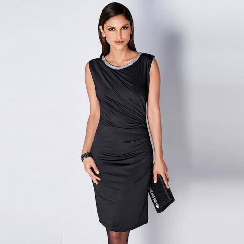 bf5a5dfb472 3 SUISSES - Robe courte sans manches effet froncé femme - Noir - Robes  courtes femme