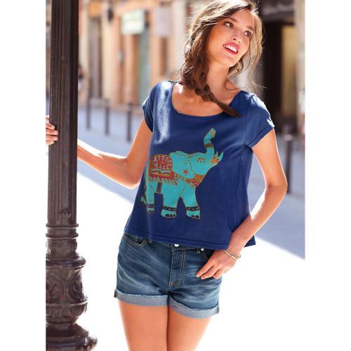 d1a281dcc1e 3 SUISSES - Short en jean bas effiloché coupe 5 poches femme - Bleu - Shorts