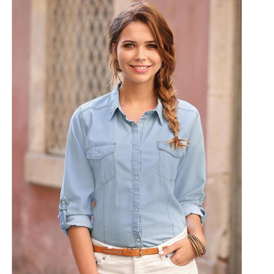 Chemise en jean manches longues ajustables - 3 SUISSES - Modalova