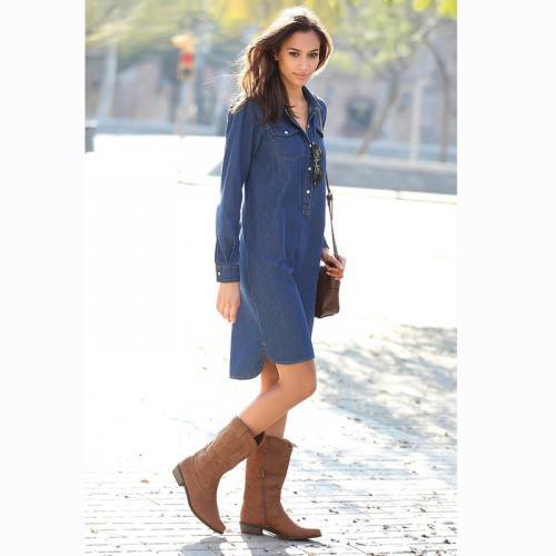 387c2faf296 3 SUISSES - Robe en jean asymétrique manches longues femme - Denim Bleu -  Mode Grande