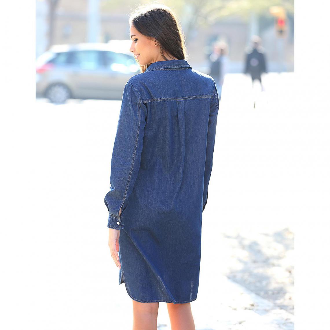 243cc8fce41 Robe courte 3 SUISSES Cliquez l image pour l agrandir. Robe en jean  asymétrique manches longues femme - Denim Bleu ...