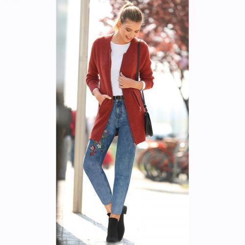 a126136043ae 3 SUISSES - Jean droit 5 poches taille haute brodé femme - Blue Denim -  Jeans