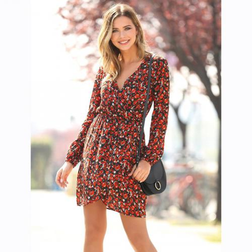 3 SUISSES - Robe courte imprimée col et jupe croisés femme Exclusivité  3SUISSES - Imprimé - b923d16f7ad