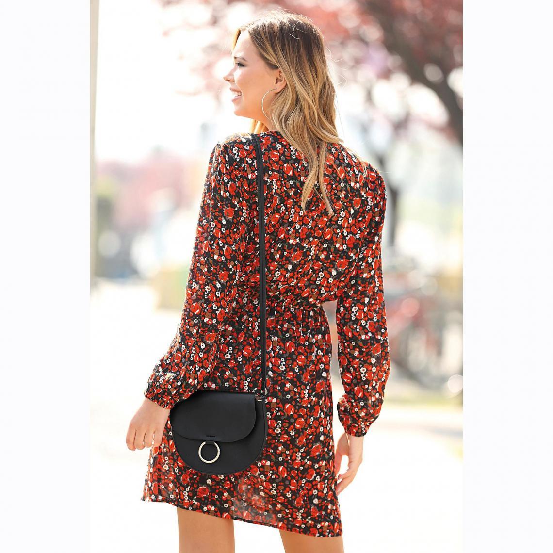 c391aa93494 Robe courte imprimée col et jupe croisés femme - Imprimé