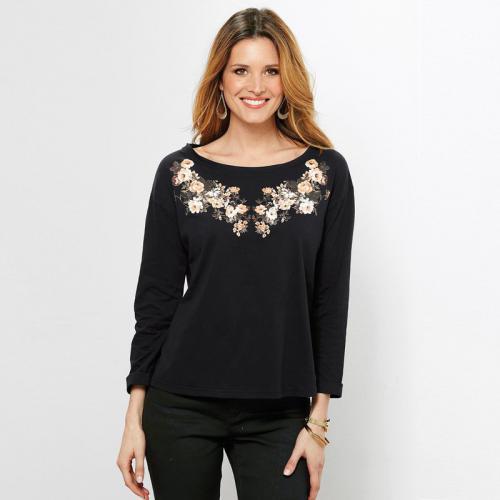 4f6c1c5b79d6 3 SUISSES - Tee-shirt manches longues imprimé femme - Noir - Promos T-