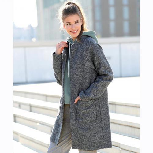 cf3647ede6309 3 SUISSES - Manteau manches longues en molleton femme - Gris Anthracite  Chiné - Manteau