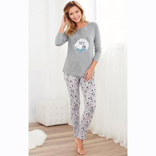 c1a24184f0398 Pyjama manches longues pantalon imprimé femme - Gris
