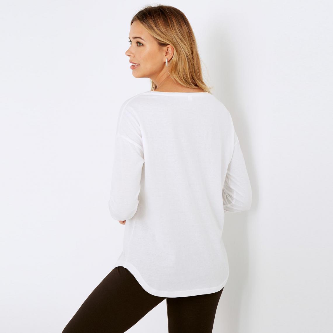 dc9e5d1d05d Tee-shirt manches longues bas arrondi femme - Blanc