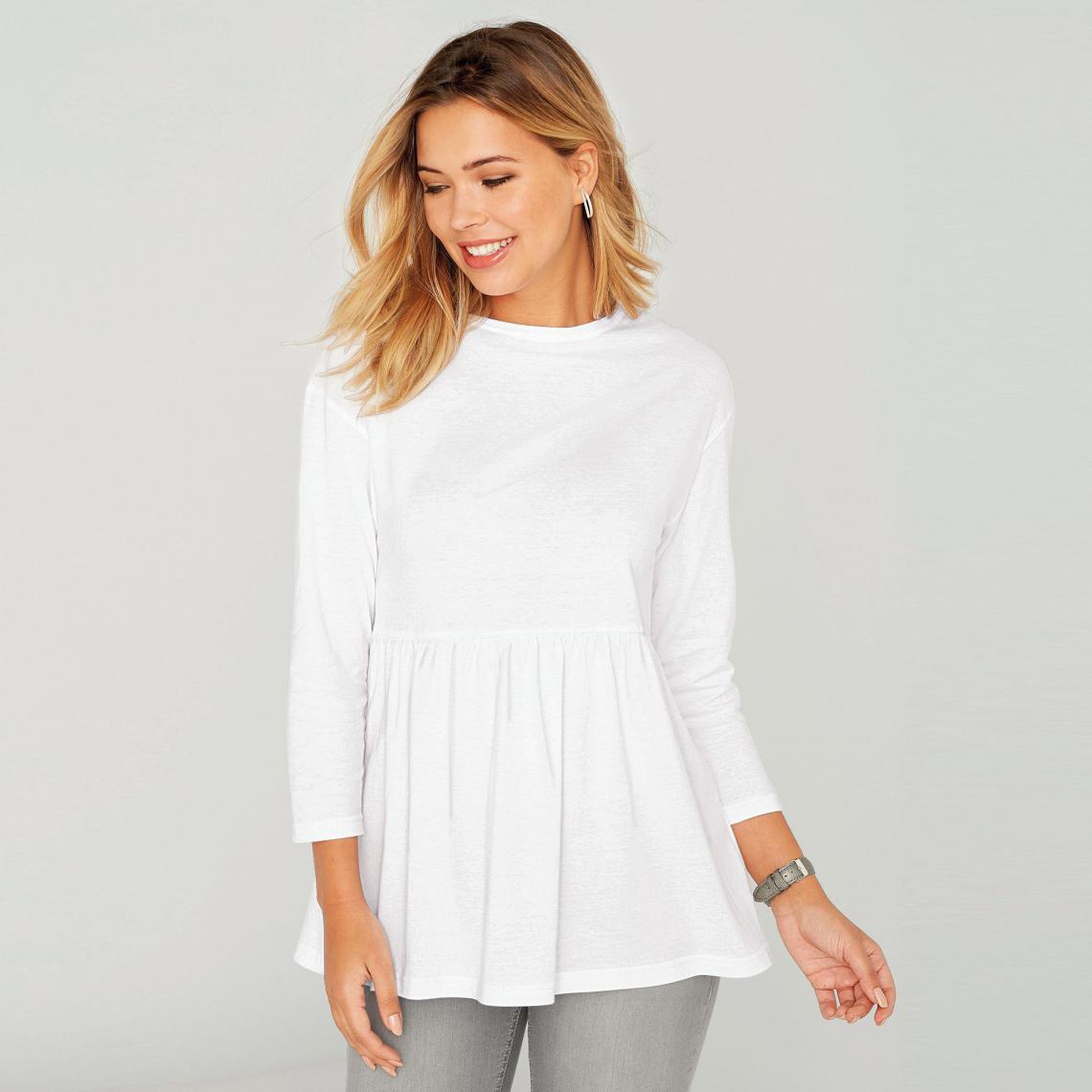 dd89b47fc0f Tee-shirt volant sur bas manches longues femme - Blanc