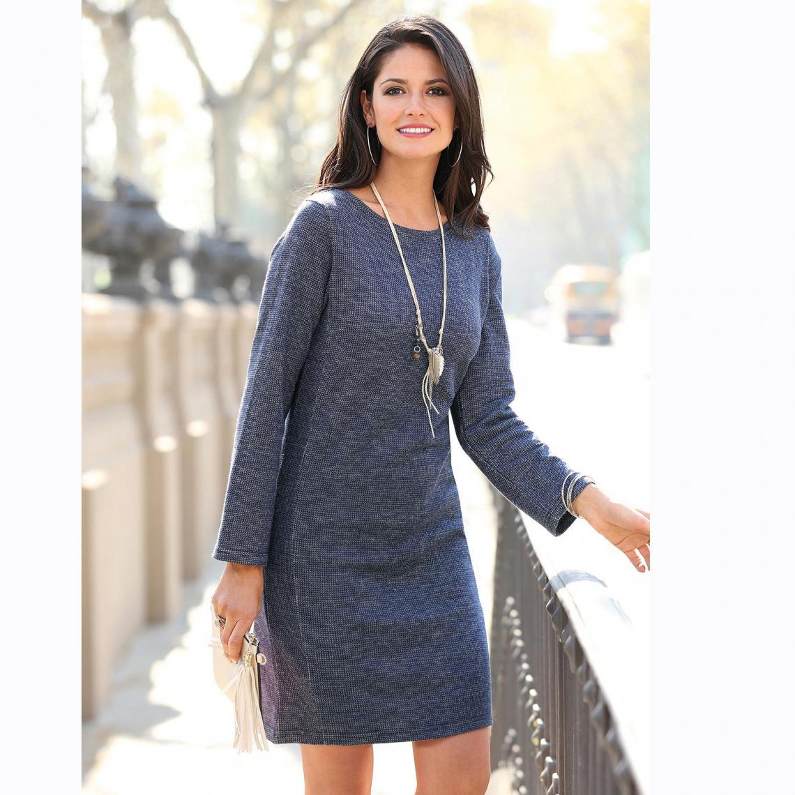 cdba73a61c3 Robe courte cintrée manches longues femme - Bleu 3 SUISSES Femme