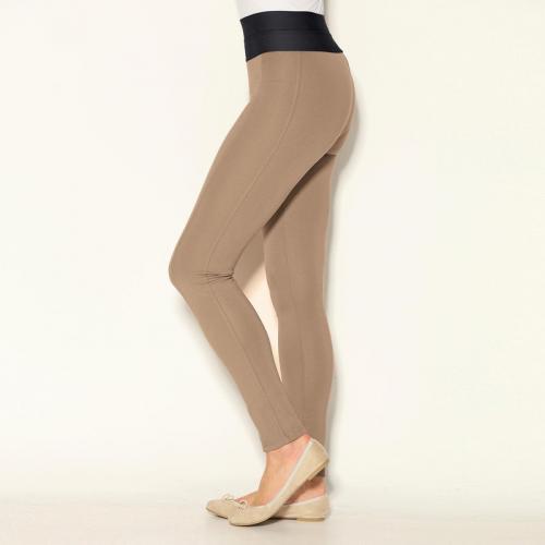 08c8da7e30f3 3 SUISSES - Tregging taille élastique bas droits femme - Camel - Mode Grande  Taille