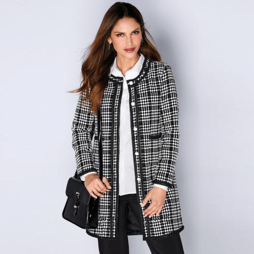 d0ab3d8976ee 3 Suisses - Manteau bicolore biais contrastés femme Exclusivité 3SUISSES -  Écru - Noir - Manteaux