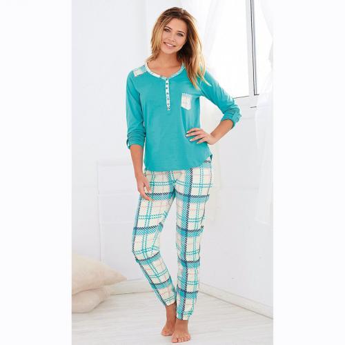 b4a67b63c0bc6 3 SUISSES - Pyjama manches longues pantalon à carreaux femme - Bleu -  Ensembles et pyjamas