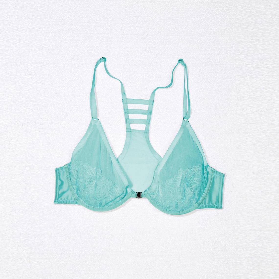 49433dc34b04f4 Soutien-gorge agrafage devant satin dentelle femme - Turquoise | 3 ...