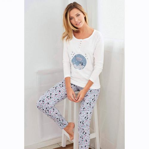 6e65f31ad0a79 3 SUISSES - Pyjama manches longues pantalon imprimé femme - Imprimé Blanc - Ensembles  et pyjamas
