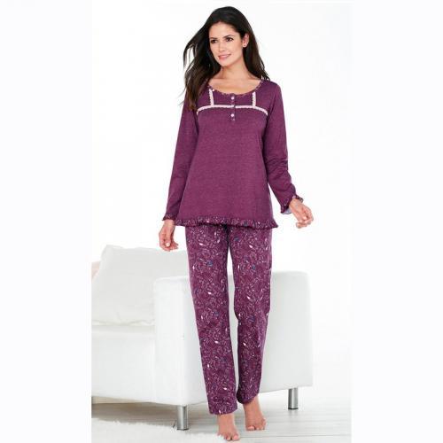 e4487a4593c0a 3 SUISSES - Pyjama dentelle et volant pantalon imprimé femme - Imprimé  Lilas - Ensembles et