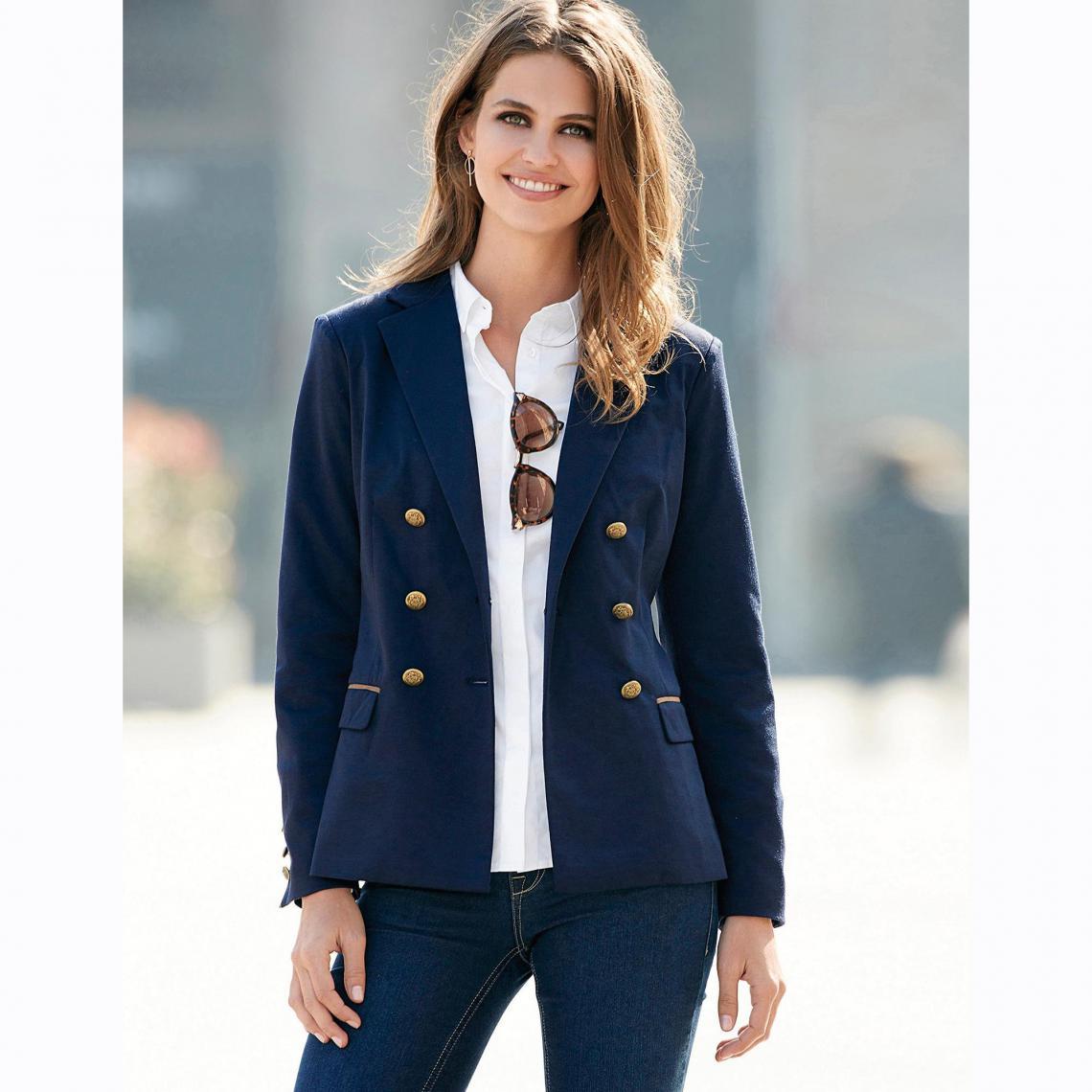 92220352dd8 Veste manches longues double boutonnage femme - Bleu 3 SUISSES Femme