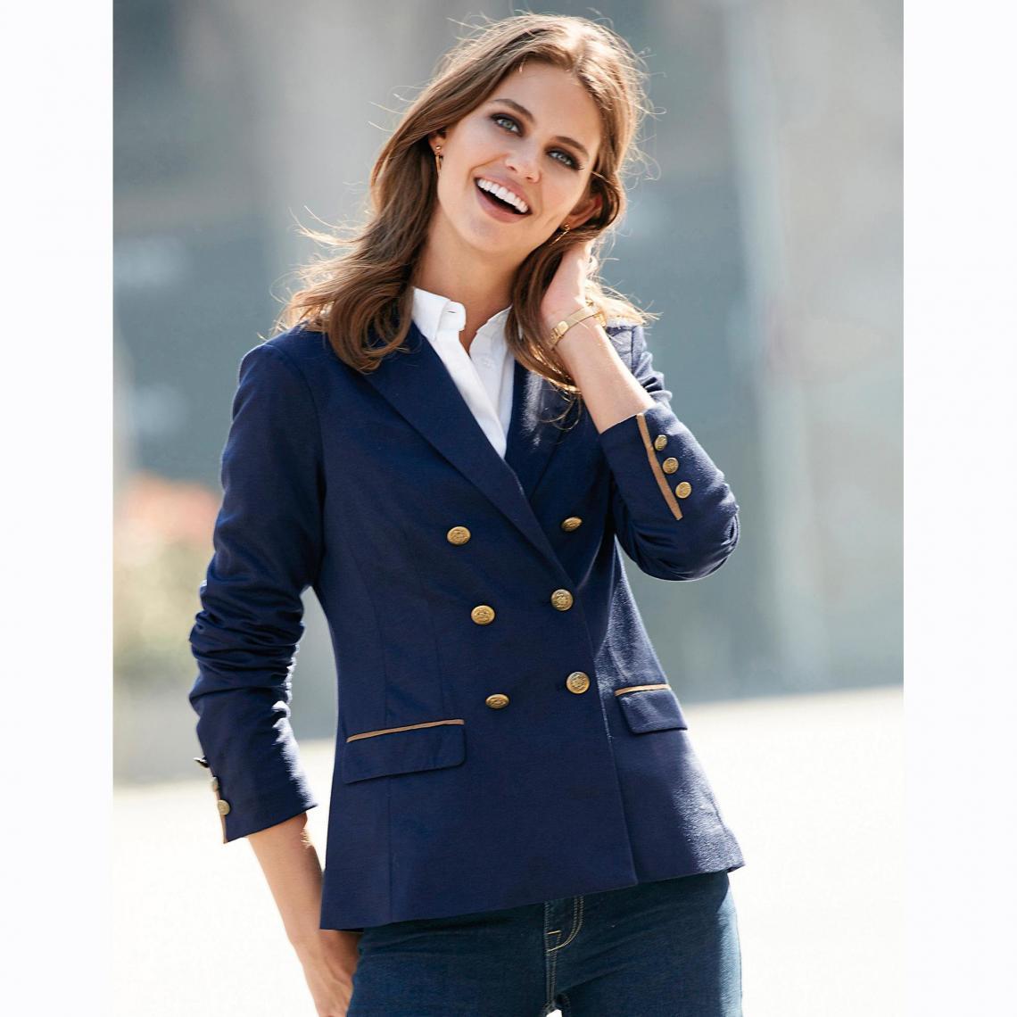 f473addb650 Veste manches longues double boutonnage femme - Bleu 3 SUISSES