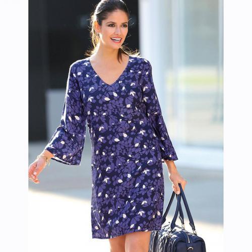 3 Suisses - Robe asymétrique imprimée manches 3 4 femme Exclusivité 3SUISSES  - Imprimé Bleu 7abdd94d6935