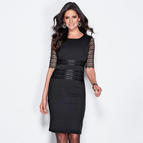 46e0a9737344 3 SUISSES - Robe courte manches courtes en dentelle femme - Noir - Robes de  soirée