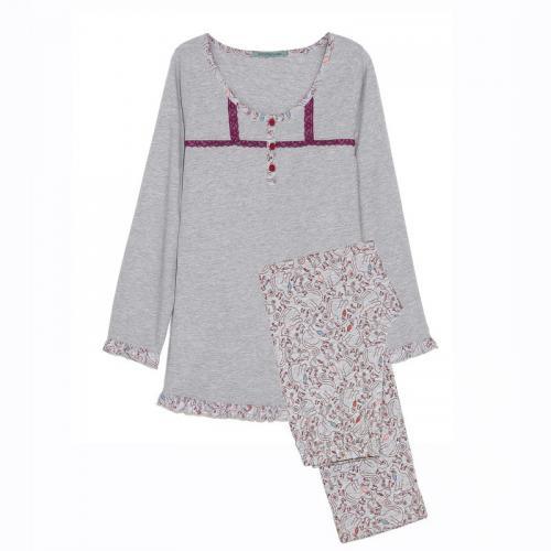 bfd3fab62eae3 3 SUISSES - Pyjama dentelle et volant pantalon imprimé femme - Gris - Ensembles  et pyjamas