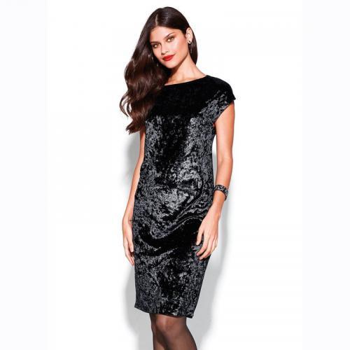 29aeb98c9f6 3 SUISSES - Robe courte manches courtes en velours femme - Noir - Robe  habillée