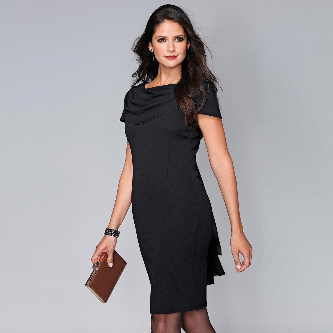 Robe courte manches courtes foulard drapé - 3 SUISSES - Modalova
