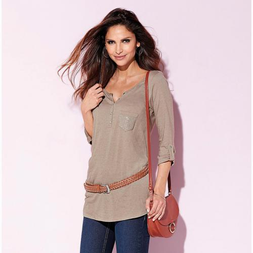 3 SUISSES - Tee-shirt long manches 3/4 poche strass femme - Marron