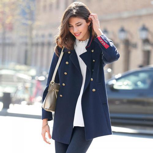 28ba4c5583 3 SUISSES - Manteau croisé et doublé manches longues femme - Bleu - Manteau