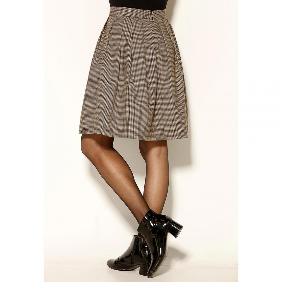 f5cae03676d Jupe courte à carreaux plis et zip femme - carreaux kaki 3 SUISSES