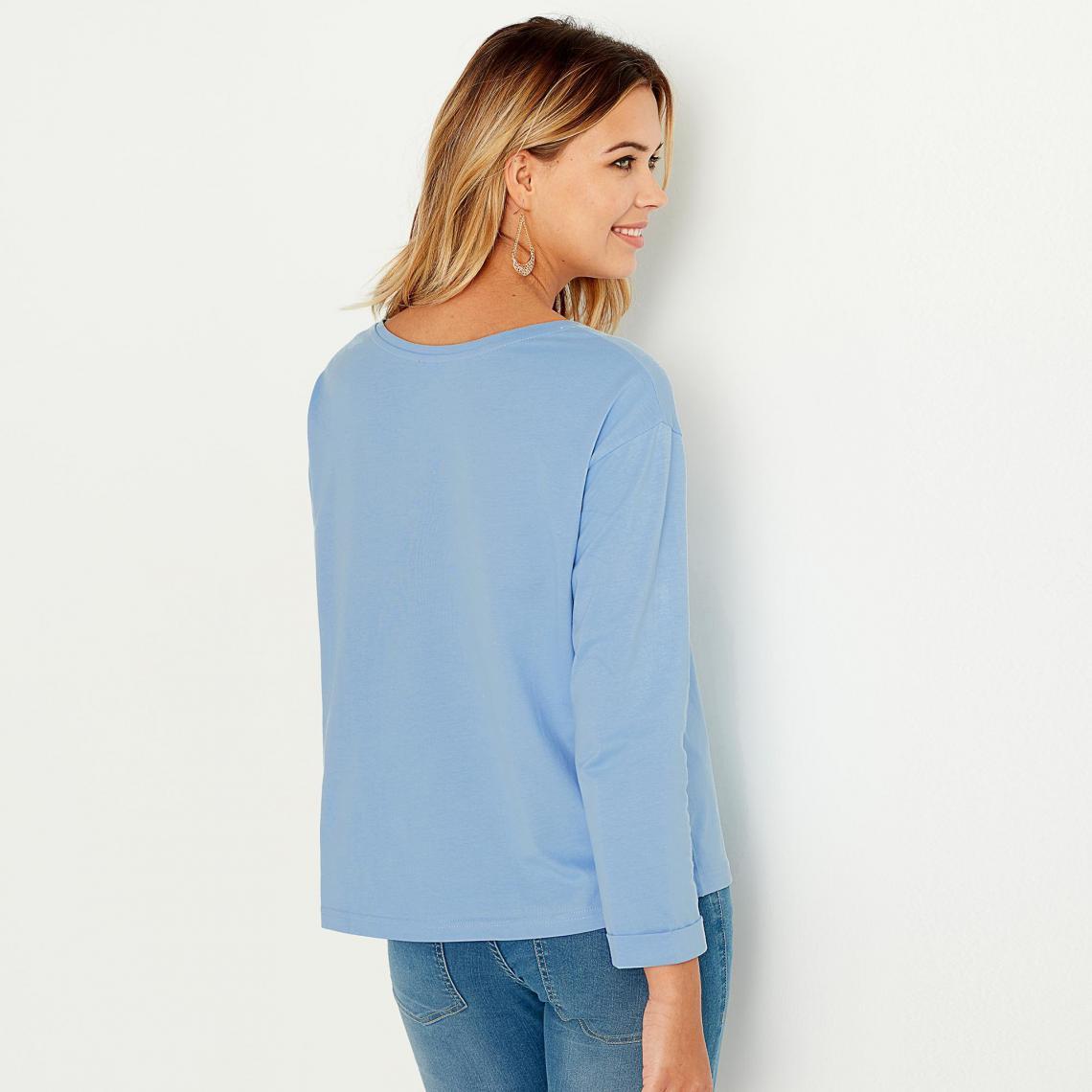 Tee-shirt carré manches longues femme - Bleu woP2b