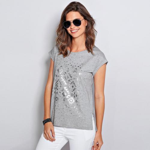 3 Suisses - Tee-shirt fendu manches courtes imprimé femme Exclusivité  3SUISSES - gris chiné 10ba064b46d8