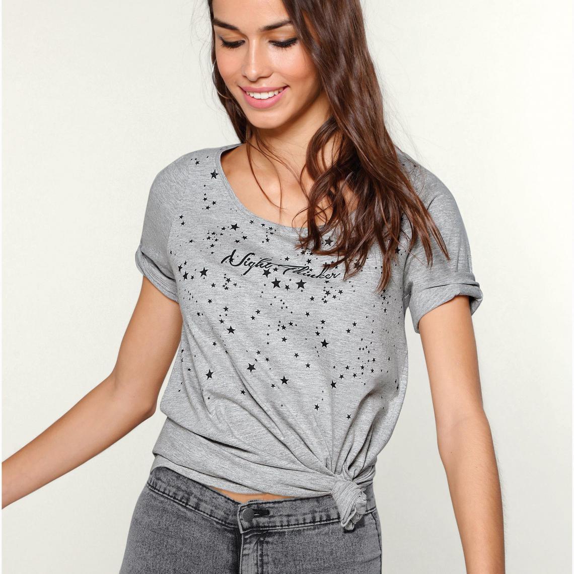 Tee-shirt imprimé manches aux coudes femme Exclusivité 3SUISSES - gris  chiné 3 SUISSES Femme cb94637c114