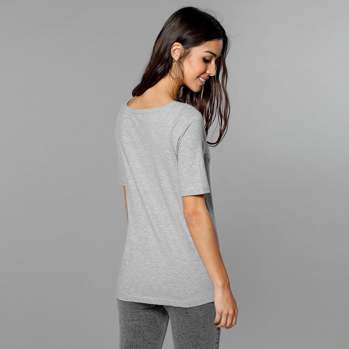 Tee-shirt imprimé manches aux coudes femme Exclusivité 3SUISSES - gris  chiné 3 SUISSES 2d9c5619ce0