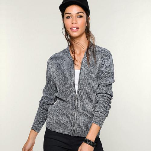 3 Suisses - Gilet aspect brillant manches longues zippé femme Exclusivité  3SUISSES - Noir - Argent 1bbc867cf608