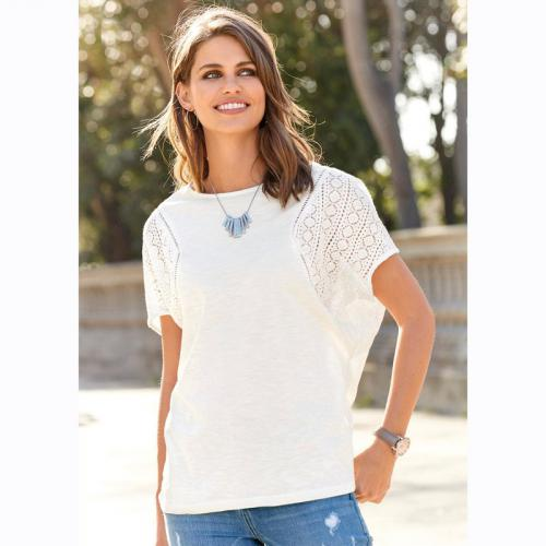 3 SUISSES - Tee-shirt manches courtes broderie femme - écru - T-shirts manches courtes femme