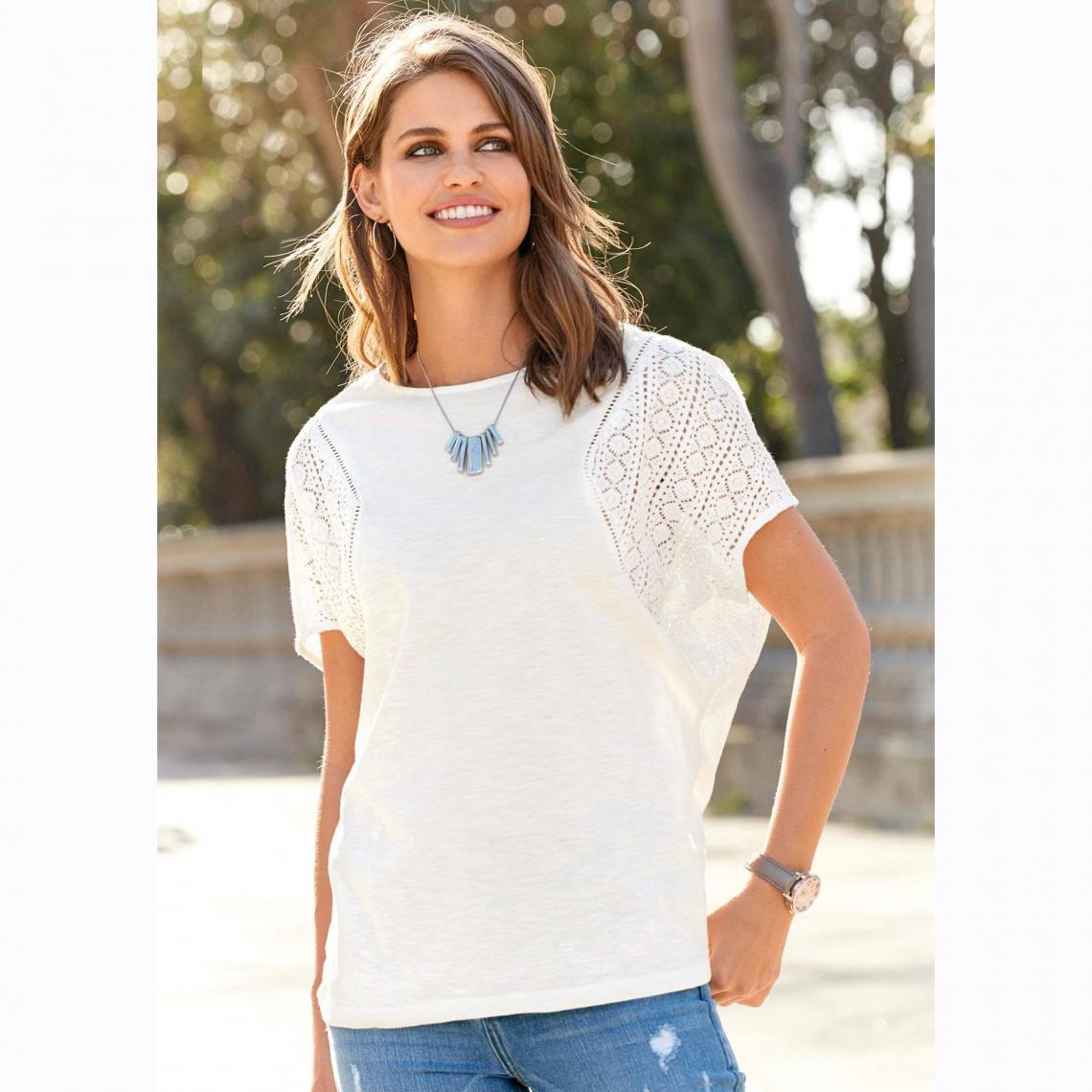 6473b4e3bb38d Tee-shirt manches courtes broderie femme - écru | 3 SUISSES