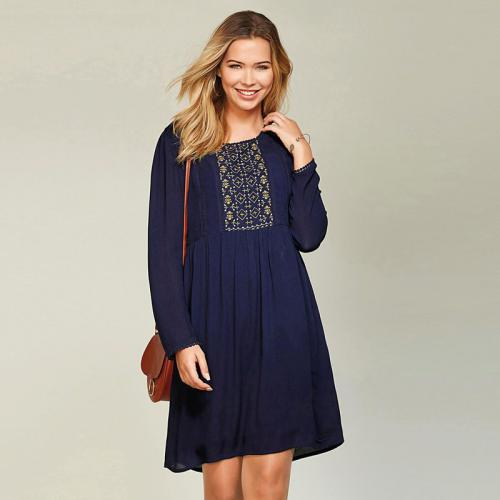 3 SUISSES - Robe courte manches longues broderie femme - Bleu Encre - Robe