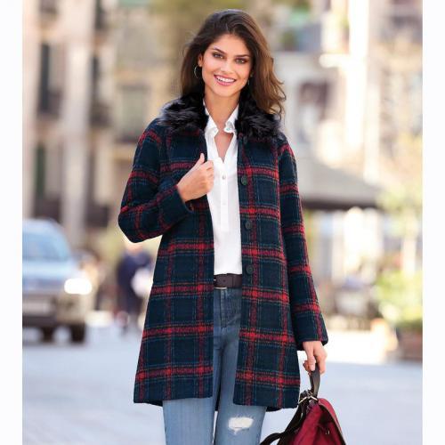 3 Suisses - Manteau évasé col amovible femme Exclusivité 3SUISSES - Rouge -  Manteaux pour femme 80f89251252b